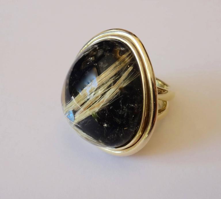 45.80 Carat Rutilated Quartz Gold Ring 4