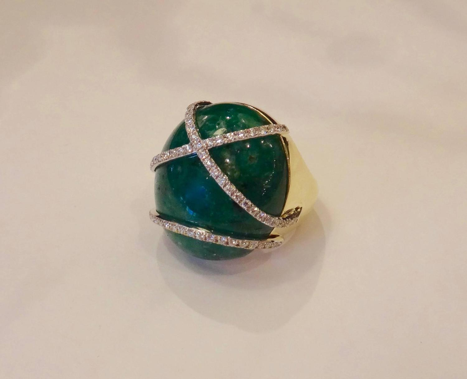 emerald cabochon gold dome ring for sale at 1stdibs