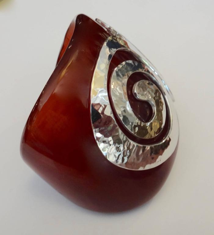 Bakelite Sterling Silver Cuff Bracelet 3