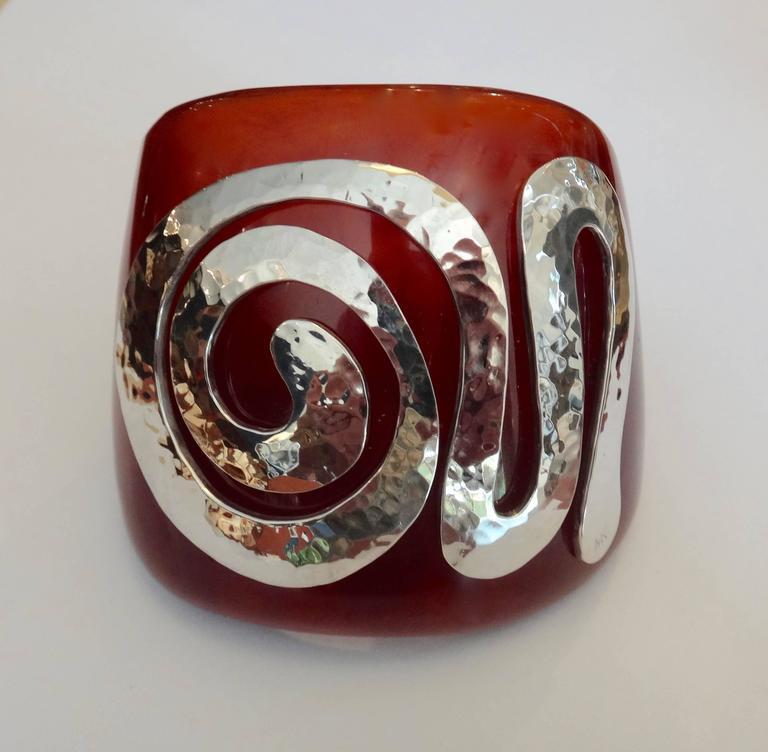 Bakelite Sterling Silver Cuff Bracelet 5
