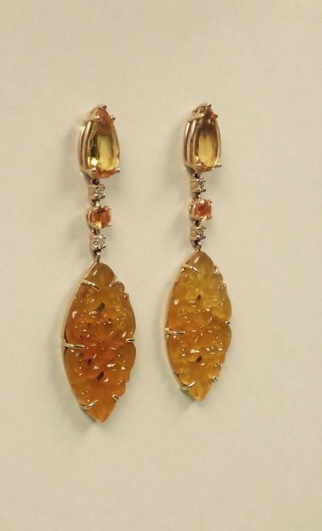 Golden Beryl Yellow Sapphire Yellow Onyx Diamond Gold Dangle Earrings 2