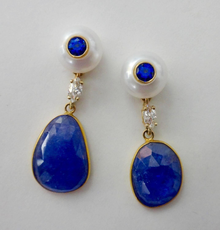 Pearl Tanzanite: Tanzanite Slice Button Pearl Blue Sapphire Diamond Drop
