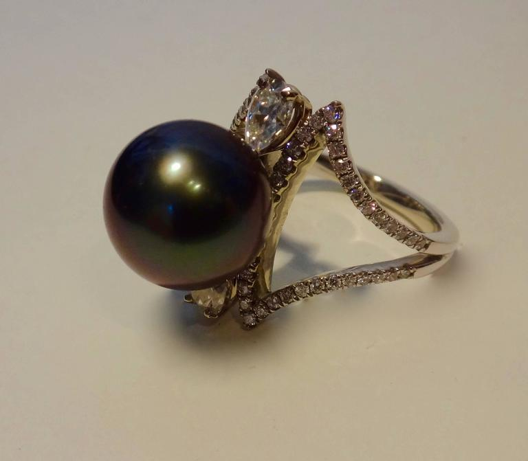 black tahitian pearl white gold cocktail ring at