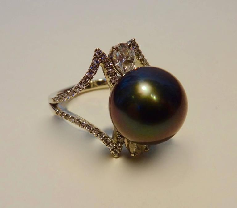 black tahitian pearl white gold cocktail ring at