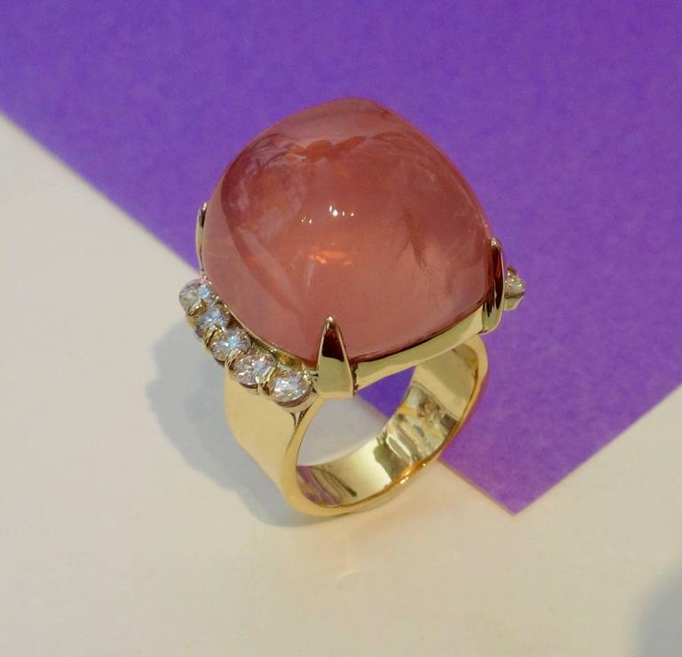 Cabochon Rose Quartz Diamond Yellow Gold Cocktail Ring For