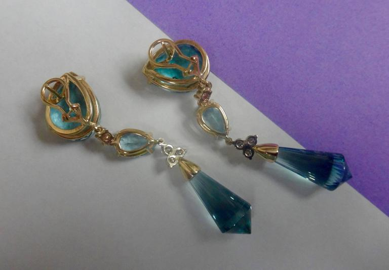 Three Color Blue Topaz Briolette Diamond Dangle Drop Earrings 3