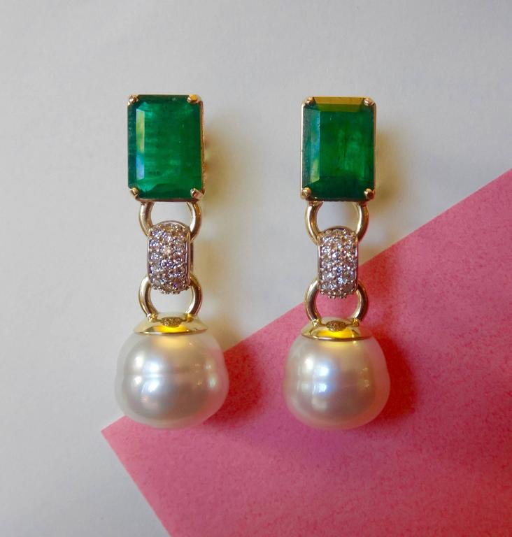 Unique Zambian Emerald Paspaley South Sea Pearl Pave Diamond Gold Dangle  QV89