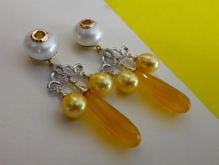 Contemporary Michael Kneebone Golden Chalcedony Yellow Sapphire Pearl Diamond Dangle Earrings
