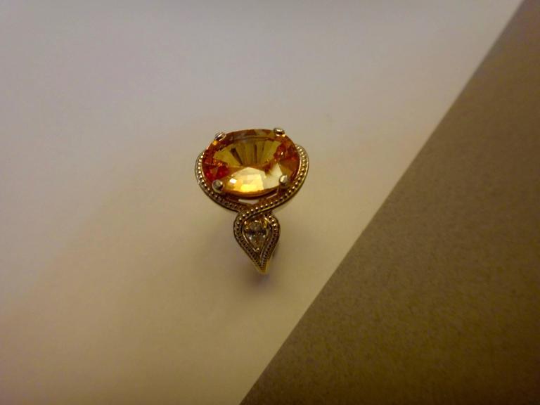 Saffron Yellow Sapphire Pear Shaped Diamond Three Stone