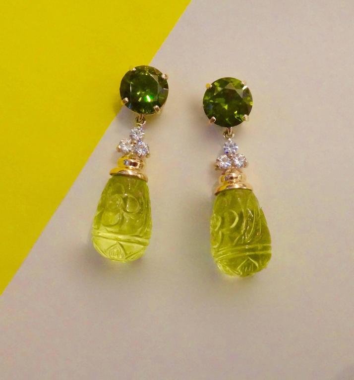 Green Zircon Diamond Carved Lemon Citrine Dangle Earrings 2
