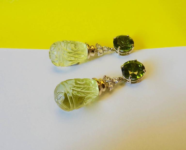 Green Zircon Diamond Carved Lemon Citrine Dangle Earrings 3