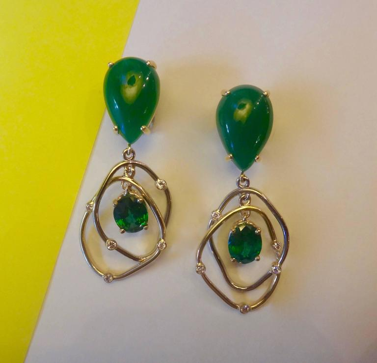 Botswana Agate Green Topaz Diamond Yellow and White Gold Kinetic Dangle Earrings 2