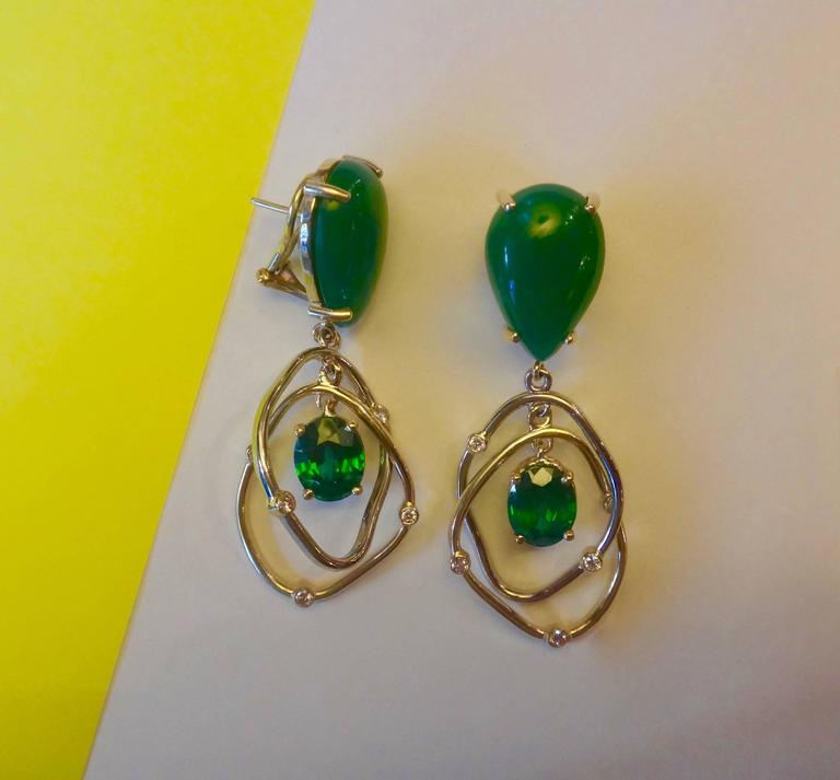 Botswana Agate Green Topaz Diamond Yellow and White Gold Kinetic Dangle Earrings 3