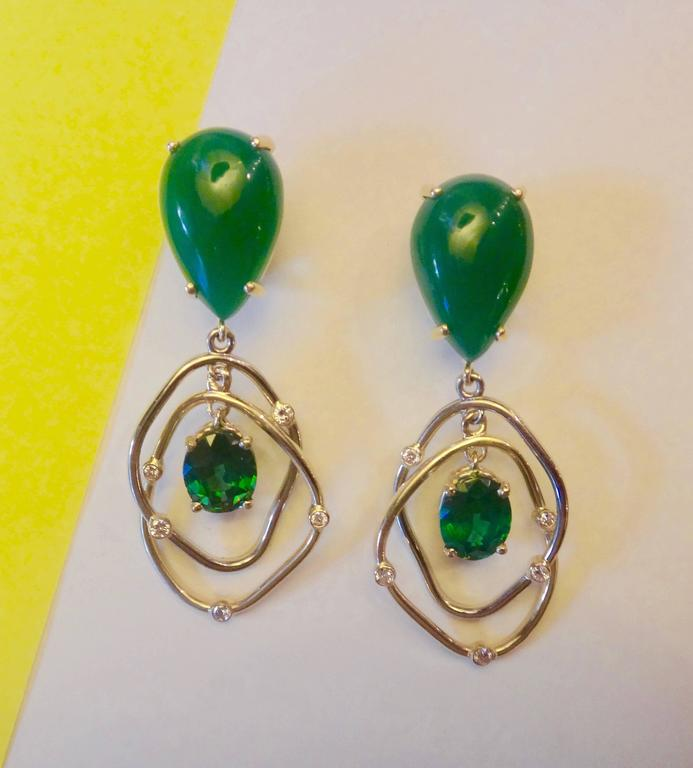 Botswana Agate Green Topaz Diamond Yellow and White Gold Kinetic Dangle Earrings 4