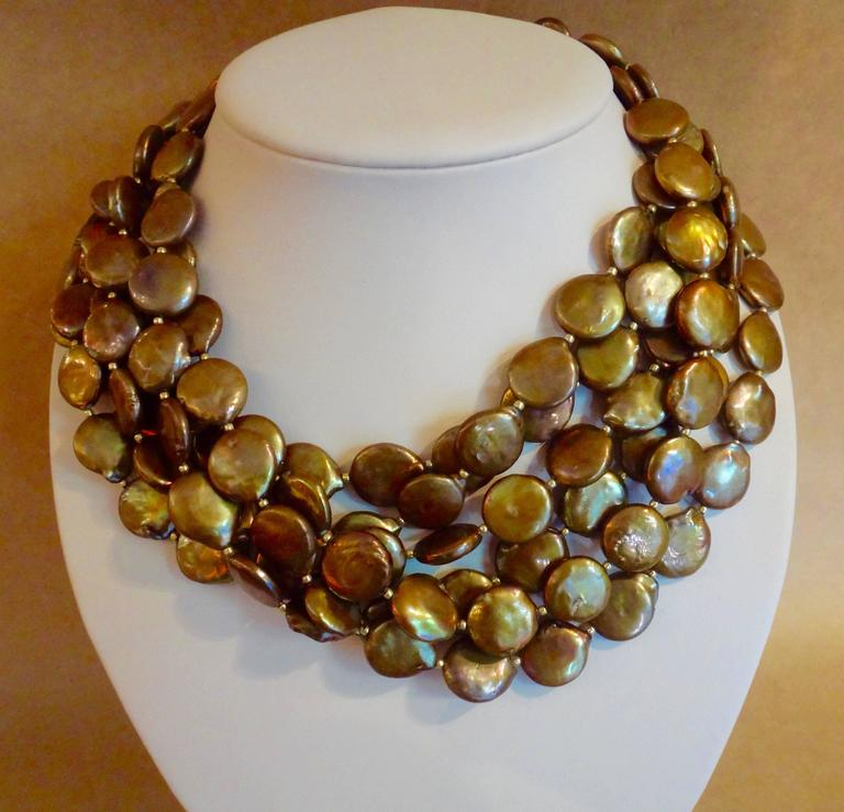 Six Strand Bronze Colored Coin Pearl Torsade Necklace At
