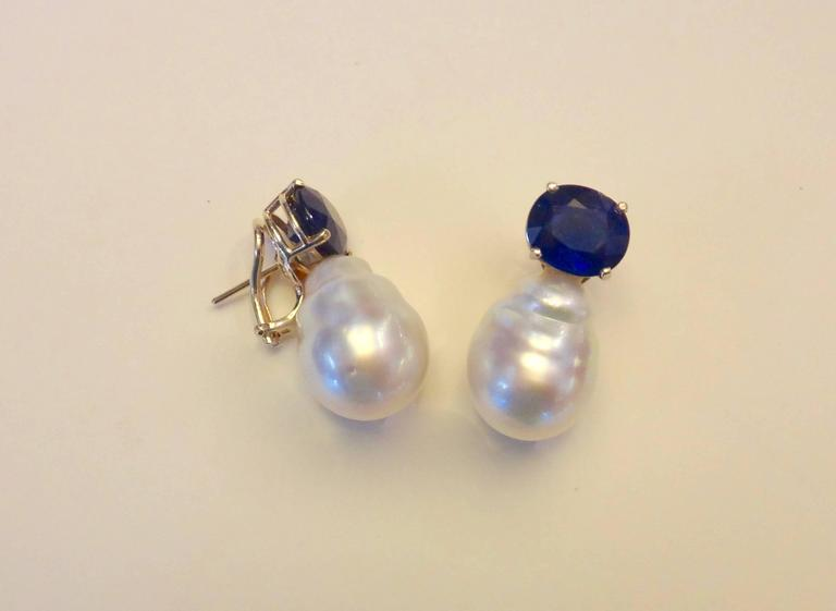 Contemporary Michael Kneebone Blue Shire Paspaley Baroque South Seas Pearl Earrings For