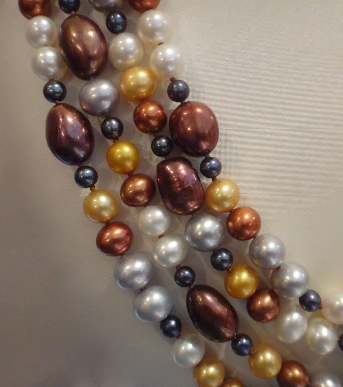 Contemporary Michael Kneebone Four-Strand Multicolored Pearl Necklace For Sale