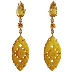 Michael Kneebone Golden Beryl Yellow Sapphire Yellow Onyx Gold Dangle Earrings