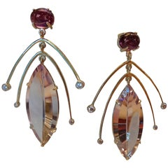 Michael Kneebone Amethyst Diamond Gold Dangle Earrings