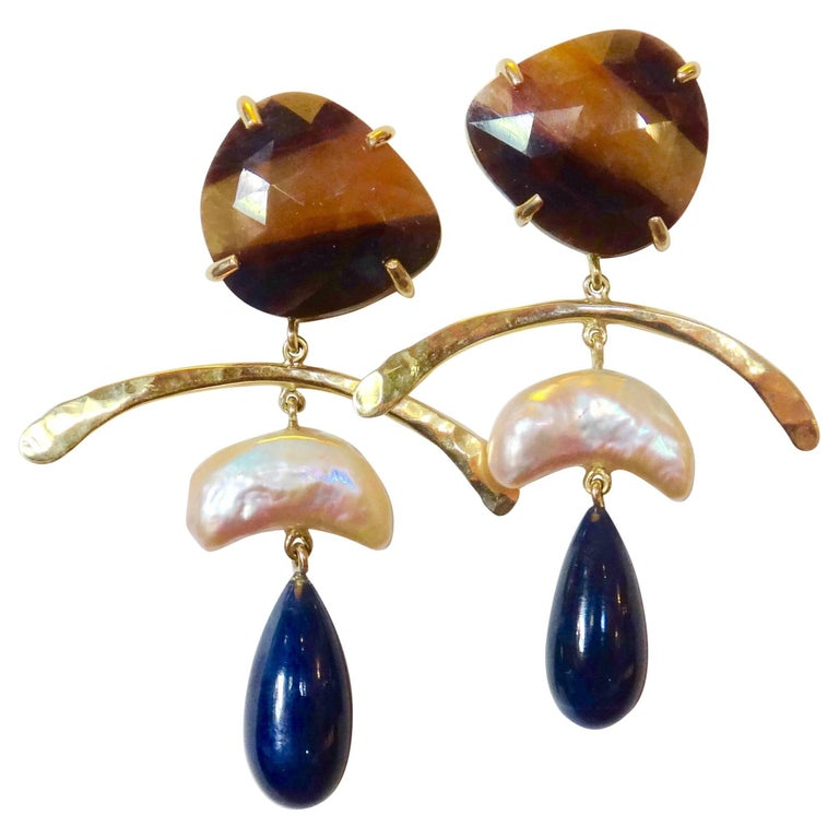 Michael Kneebone Sapphire Cultured Pearl Blue Sapphire Gold Dangle Earrings