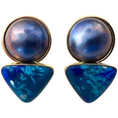 Michael Kneebone Mabe Pearl Chrysocolla Azurite Drop Earrings