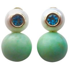 Michael Kneebone Chrysoprase Pearl Zircon Drop Earrings