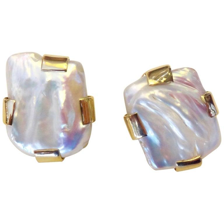 Michael Kneebone Tile Pearl 18 Karat Gold Button Earrings