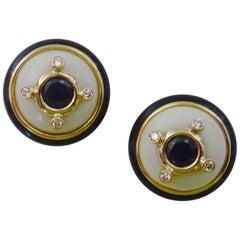 Michael Kneebone Black Spinel White Coral Diamond Onyx Button Earrings