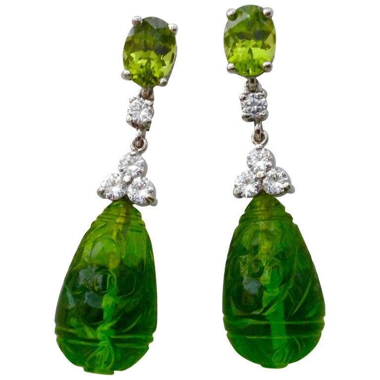 Michael Kneebone Peridot Diamond White Fluorite Gold Dangle Earrings
