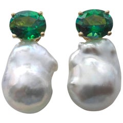 Michael Kneebone Green Topaz Baroque South Seas Pearl Earrings