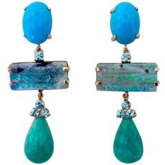 Michael Kneebone Turquoise Zircon Boulder Opal Amazonite Dangle Earrings