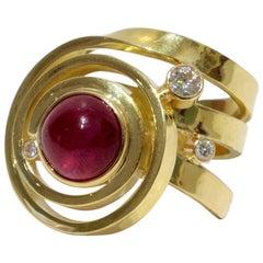 Michael Kneebone Cabochon Ruby Diamond Gold Ring