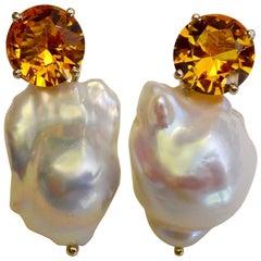 Michael Kneebone Golden Citrine White Baroque Pearl Earrings