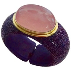Michael Kneebone Cabochon Rose Quartz Purple Shagreen Cuff Bracelet