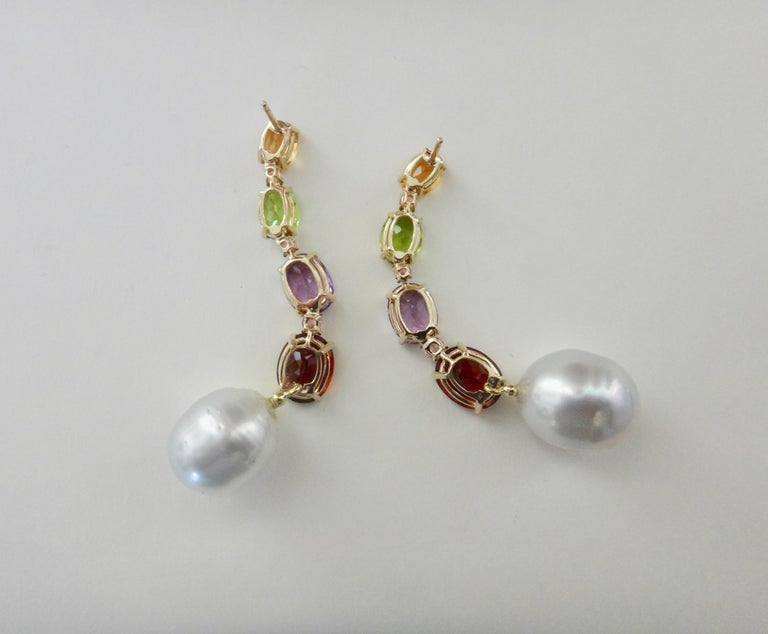 Michael Kneebone Multicolored Gemstone South Seas Pearl Dangle Earrings 2
