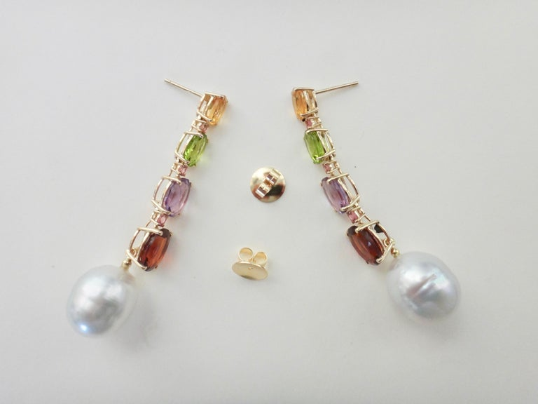 Michael Kneebone Multicolored Gemstone South Seas Pearl Dangle Earrings 3