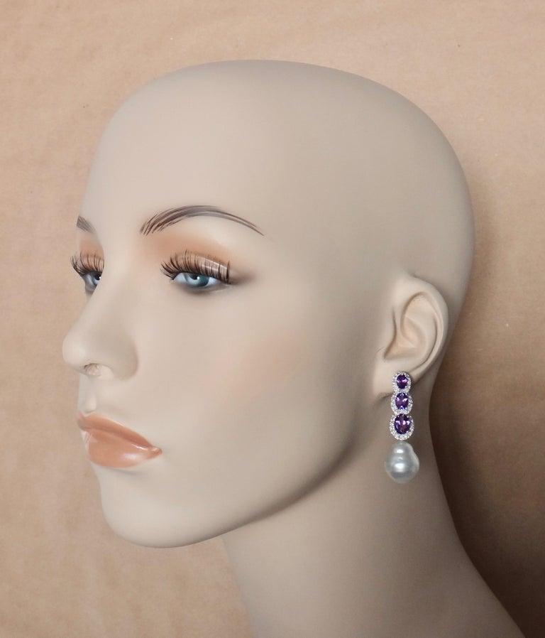 Contemporary Michael Kneebone Amethyst Diamond South Seas Pearl Dangle Earrings For Sale
