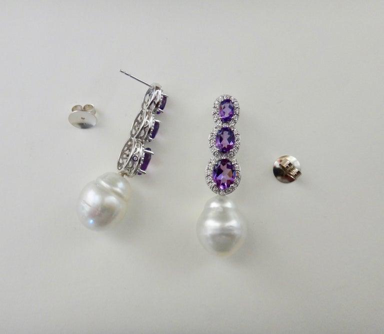 Michael Kneebone Amethyst Diamond South Seas Pearl Dangle Earrings In New Condition For Sale In Rancho Mirage, CA