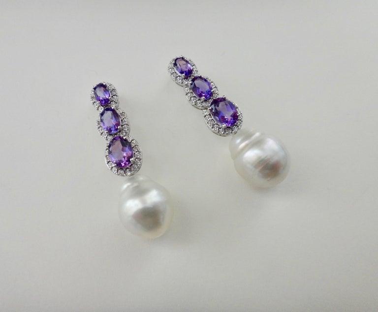 Women's Michael Kneebone Amethyst Diamond South Seas Pearl Dangle Earrings For Sale