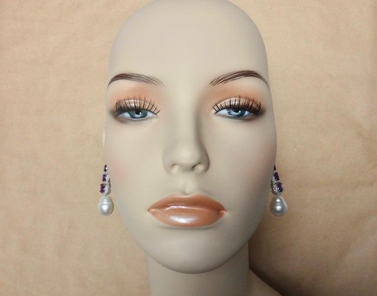 Michael Kneebone Amethyst Diamond South Seas Pearl Dangle Earrings For Sale 1