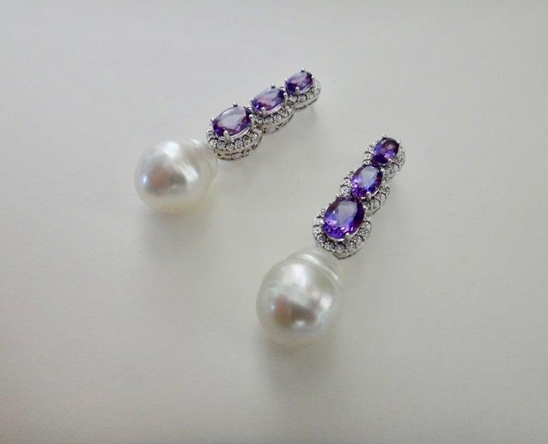 Michael Kneebone Amethyst Diamond South Seas Pearl Dangle Earrings For Sale 2