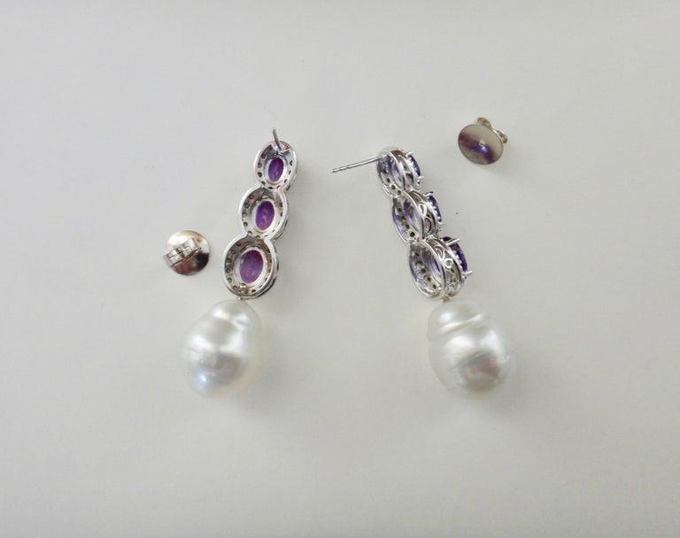 Michael Kneebone Amethyst Diamond South Seas Pearl Dangle Earrings For Sale 3