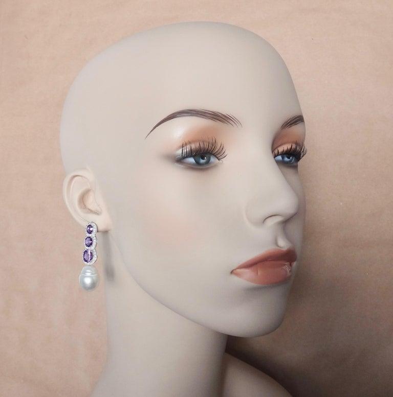 Michael Kneebone Amethyst Diamond South Seas Pearl Dangle Earrings For Sale 4