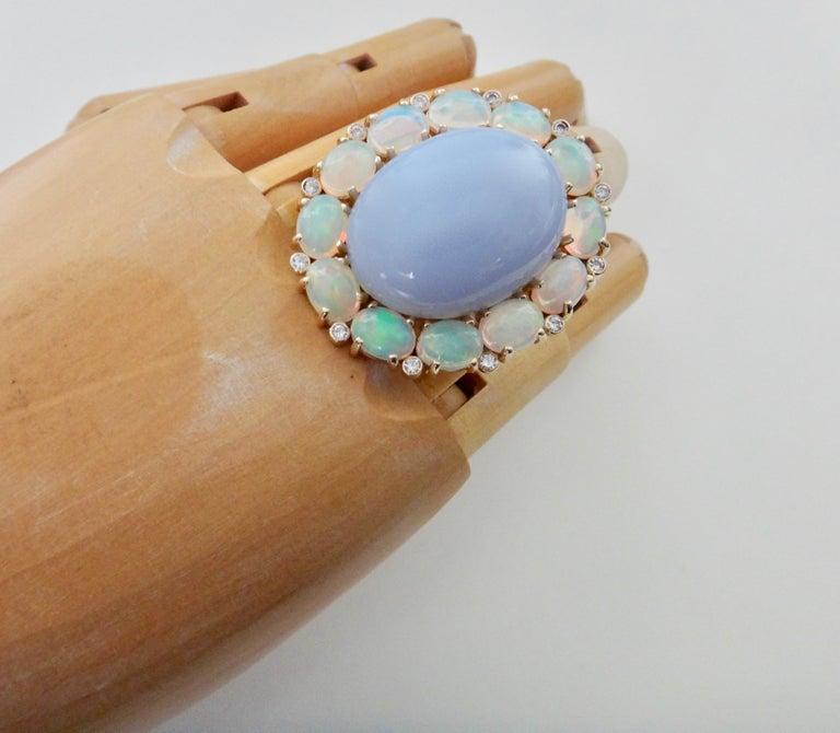 Contemporary Michael Kneebone Blue Chalcedony Ethiopian Opal Diamond Cocktail Ring For Sale