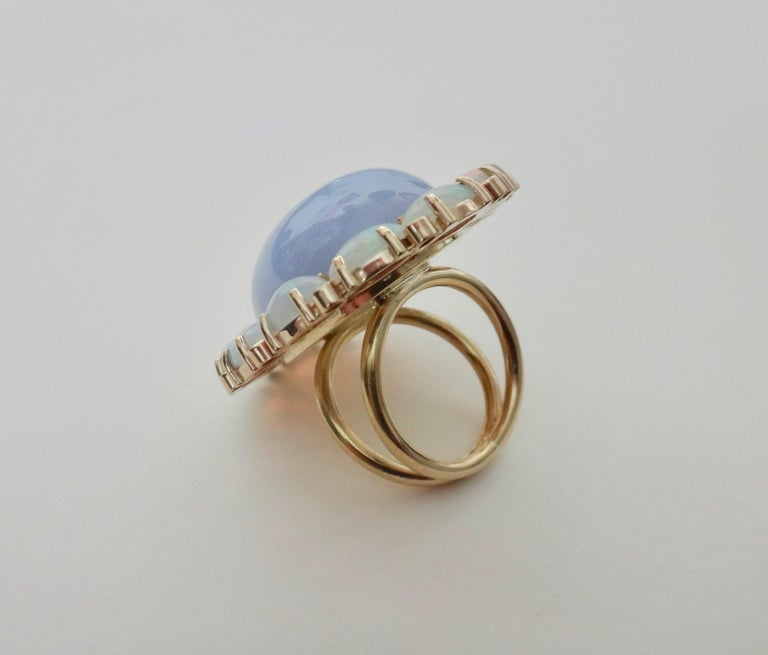 Michael Kneebone Blue Chalcedony Ethiopian Opal Diamond Cocktail Ring In New Condition For Sale In Palm Desert, CA