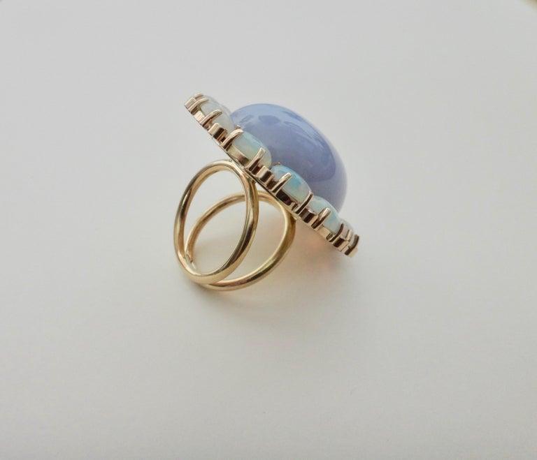 Women's Michael Kneebone Blue Chalcedony Ethiopian Opal Diamond Cocktail Ring For Sale