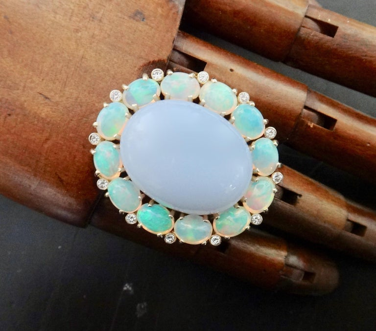 Michael Kneebone Blue Chalcedony Ethiopian Opal Diamond Cocktail Ring For Sale 1