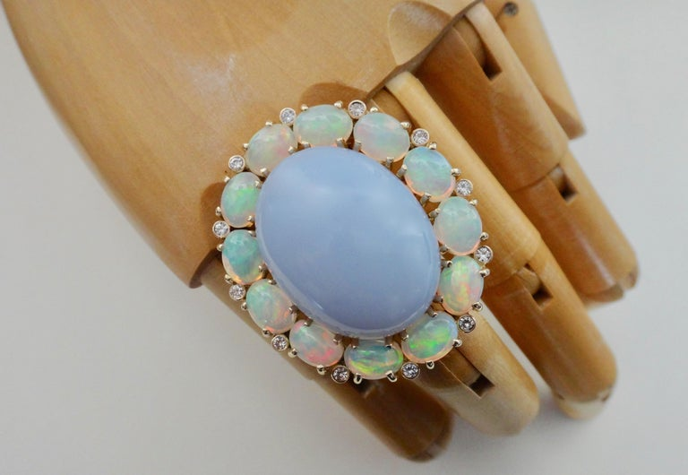 Michael Kneebone Blue Chalcedony Ethiopian Opal Diamond Cocktail Ring For Sale 4