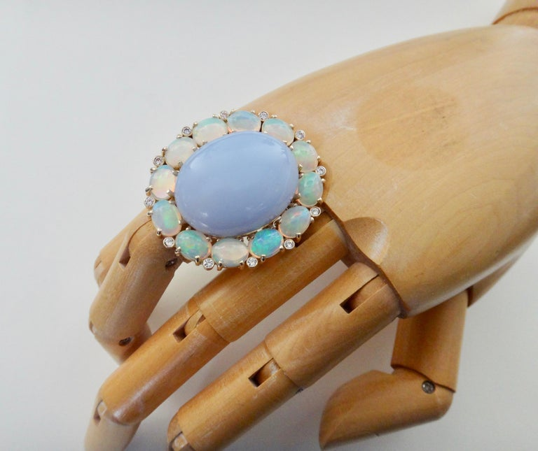 Michael Kneebone Blue Chalcedony Ethiopian Opal Diamond Cocktail Ring For Sale 5