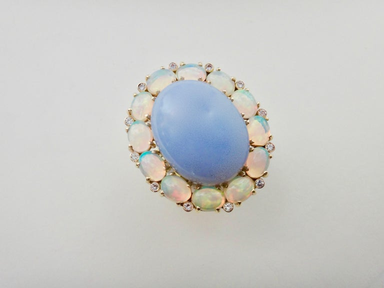 Michael Kneebone Blue Chalcedony Ethiopian Opal Diamond Cocktail Ring For Sale 7